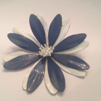 Vintage Blue and White Enamel Flower Brooch Pin 1950s 1960s Costume Jewelry