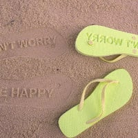 Custom Imprint Sand Flip Flops-Don't Worry Be Happy