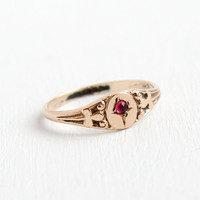 Antique Art Deco Gold Filled Baby Ring- Size 4 Vintage 1920s Hallmarked Uncas Ruby Red Paste Stone Jewelry