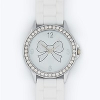 Pave Bezel Glitter Bow Watch