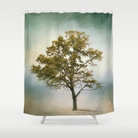 Bleached Sage Green Cotton Field Tree - Landscape  Shower Curtain by Jai Johnson