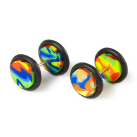 18G Rainbow Tie Dye Faux Ear Plugs