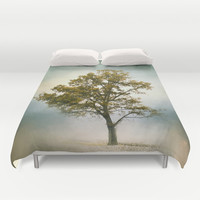 Bleached Sage Green Cotton Field Tree - Landscape  Duvet Cover by Jai Johnson