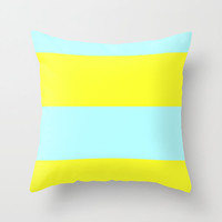 Ice Blue and Yellow Pillow Cover, 18x18 pillow cover, indoor or outdoor pillow cover, Blue Pillow Cover, Yellow Pillow Cover