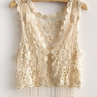 Knitted Floral Tassel Trim Vest with Cut Out Detail