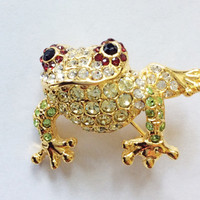 Vintage Brooch / Frog Pin / Figural Brooch / Rhinestone Pin / Crystal Pin / Vintage Costume Jewelry