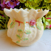 Beautiful Vintage Belleek Porcelain Flower Pot with Applied Flowers ~ Rose #1
