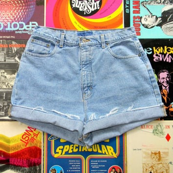 High Waisted Denim Shorts - Vintage 90s Classic Light Stone Washed Jean Shorts - Frayed, Cuffed, Light Wash, Naturally Distressed, Size 14