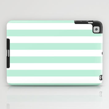 Stripe Horizontal Mint Green iPad Case by BeautifulHomes | Society6