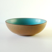 RESERVED Vintage Heath Ceramics Bowl in Aqua and Brown - Small Coupe Dessert Bowl