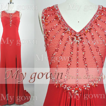 2014 Red Evening Dress,Straps Beading Lace Chiffon Prom Dress,Wedding Dress,Evening Gown,Formal Dress,Grad Dress,Party Dress,Evening Dress
