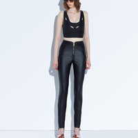 AFTER DARK High Waist Faux Leather Trousers
