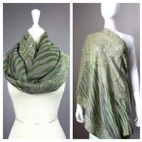 Breastfeeding cover, infinity  scarf, green scarf, animal pattern scarf by Nursing Time