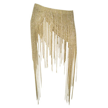 Runway Sample Crystal Beaded Fringe Ultra-Mini Skirt