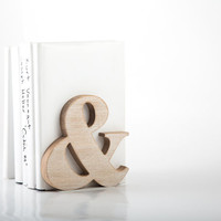 A pair of Modern stylish bookends Ampersand Wooden edition