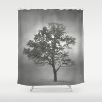 Gray Mist Cotton Field Tree - Landscape Shower Curtain by Jai Johnson