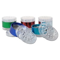 Anodized Aluminum and Clear Acrylic Herb Grinder - 4-part - Various Colors