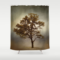 Nutmeg Cotton Field Tree - Landscape Shower Curtain by Jai Johnson