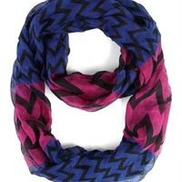 Woven Infinity Scarf with Chevron Print