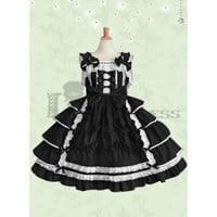 Cheap Sleeveless Bowknot Multi-Layer Cotton Black and White Gothic Lolita Dress [TQL120504089] - £48.59 :