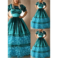 Cheap Short Sleeves Ruffles Blue Gothic Victorian Dress Online [TQL120427028] - £74.59 :