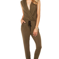 Drawstring Deep V Jumpsuit in Olive