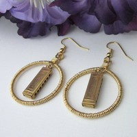 Gold Harmonica Dangling Hoop Earrings Hand Wire Wrapped Hypoallergenic
