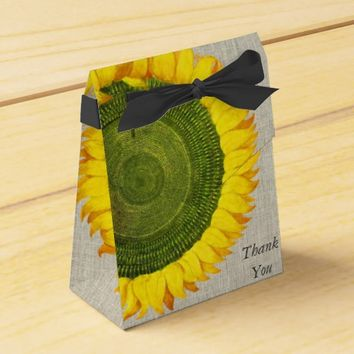 Sunflower Linen Thank You Favor Box