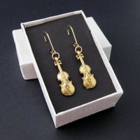 Gold Pewter Violin Charm Earrings Dimensional 14k Lever Backs