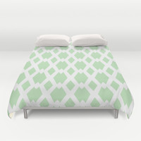 Daffy Lattice Mint Duvet Cover by Lisa Argyropoulos | Society6