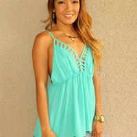 'Secret Crush' Lattice Cutout Tank (Sea Green)