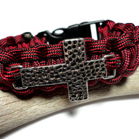 Paracord Bracelet in Fire Fighter Red and Black Stripe with Antique Silver Cross Whistle Handmade USA Breakaway All Sizes