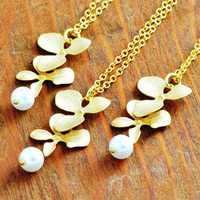 Gold Orchid Necklace  bridesmaid necklace set by MegusAttic