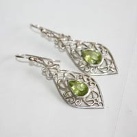 Sterling Peridot Earrings Filigree Silver 1970s  Jewelry