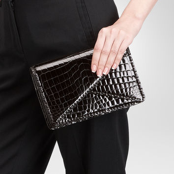 Nero Shiny Crocodile Clutch - Women's Bottega Veneta® Clutch - Shop at the Official Online Store