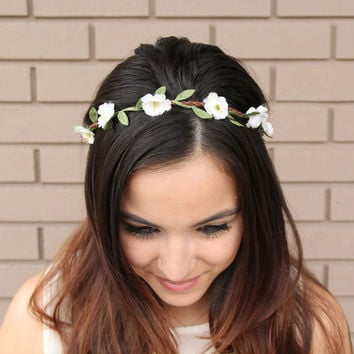 White Wild Flower Headband