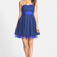 a. drea Zigzag Lace Strapless Fit & Flare Dress (Juniors) | Nordstrom