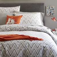 Pop Zig Zag Duvet Cover, Full/Queen, Feather Gray