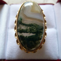 HUGE, HEAVY, COCKTAIL,  ESTATE 14K GOLD, PICTURE AGATE RING, EXCEPTIONAL SCENE
