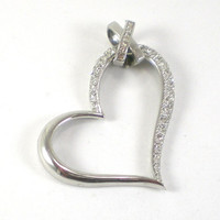 Vintage Rodium Silver Heart Pendant With Pave Stone Settings Love Valentine For Her
