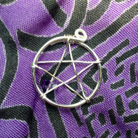 Silver Plated Wire Wrapped Pentacle Pendant Charm