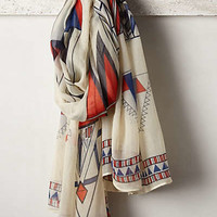 Deco Prisms Scarf by Anthropologie Red Motif One Size Scarves