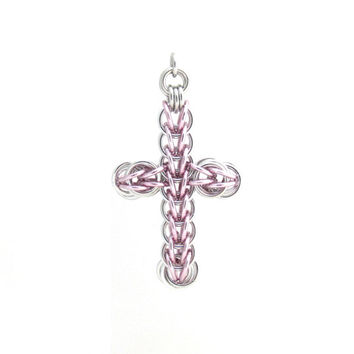 Cross Pendant, Chain Maille Pendant, Pink Cross Ornament, Pastel Pink Jewelry
