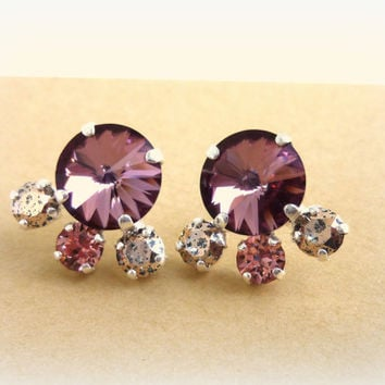 Swarovski crystal stud/post earrings, 12mm vintage rose and rose patina, designer inspired crystal earrings, by Siggy