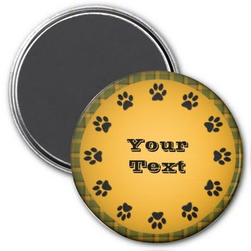 Personalized Paw Print Magnet, Orange-Plaid