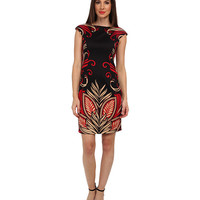 London Times Cap Sleeve Placement Print Sheath Dress