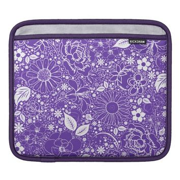 Botanical Beauties Purple iPad Sleeve Horizontal