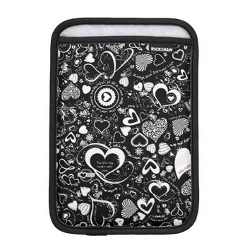 Heart Love Doodles B&W iPad Mini Sleeve Vertical