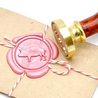 Pig Farm Animal Gold Plated Wax Seal Stamp x 1
