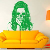 Wall Decal Vinyl Sticker Decals Art Decor Design Sugar Skull Tattoo girl Face Makeup Hair Sunglasses Salon Studio Bedroom Gift Dorm (r1057)